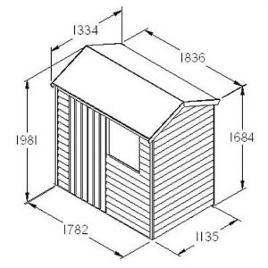 Hartwood 6' x 4' FSC Overlap Reverse Apex Shed Dimensions