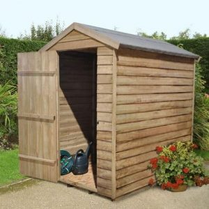 Hartwood 6' x 4' FSC Pressure Treated Overlap Apex Security Shed Left Side View