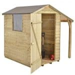 Hartwood 6' x 4' FSC Pressure Treated Overlap Apex Shed With Lean To Right Side View