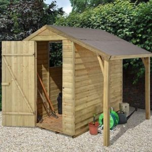 Hartwood 6' x 4' FSC Pressure Treated Overlap Apex Shed With Lean To Side View