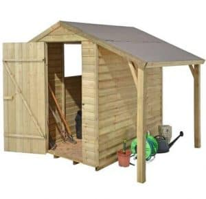 Hartwood 6' x 4' FSC Pressure Treated Overlap Apex Shed With Lean To Unpainted