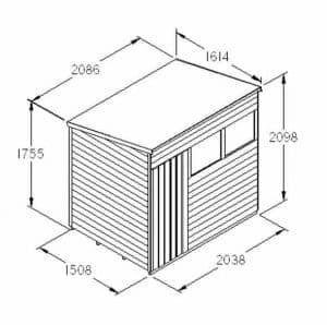 Hartwood 7' x 5' FSC Overlap Pent Shed Dimensions