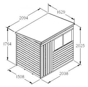 Hartwood 7' x 5' FSC Pent Shed Dimensions