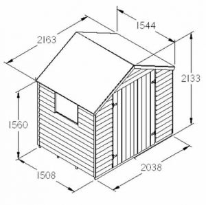 Hartwood 7' x 5' FSC Pressure Treated Double Door Overlap Apex Shed Dimensions