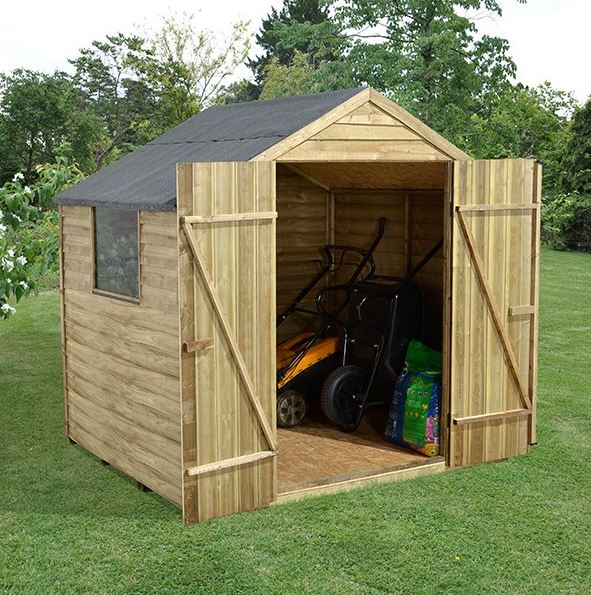 Hartwood 7u0027 X 5u0027 FSC Pressure Treated Double Door Overlap Apex Shed Wide  Open