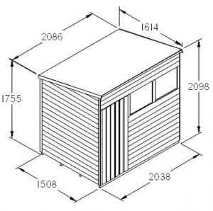 Hartwood 7' x 5' FSC Pressure Treated Overlap Pent Shed Dimensions