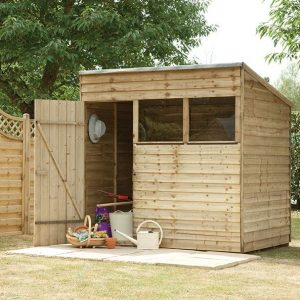 Hartwood 7' x 5' FSC Pressure Treated Overlap Pent Shed Left Side View