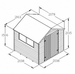 Hartwood 7' x 7' FSC Pressure Treated Double Door Overlap Apex Shed Dimensions