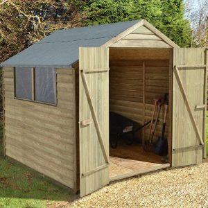 Hartwood 7' x 7' FSC Pressure Treated Double Door Overlap Apex Shed Double Doors Open