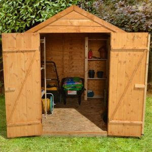 Hartwood 8' x 6' FSC Double Door Overlap Apex Shed Front