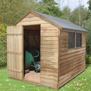 Hartwood 8' x 6' FSC Pressure Treated Overlap Apex Shed Left Side View
