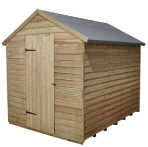 Hartwood 8' x 6' FSC Pressure Treated Windowless Overlap Apex Shed Single Close Door