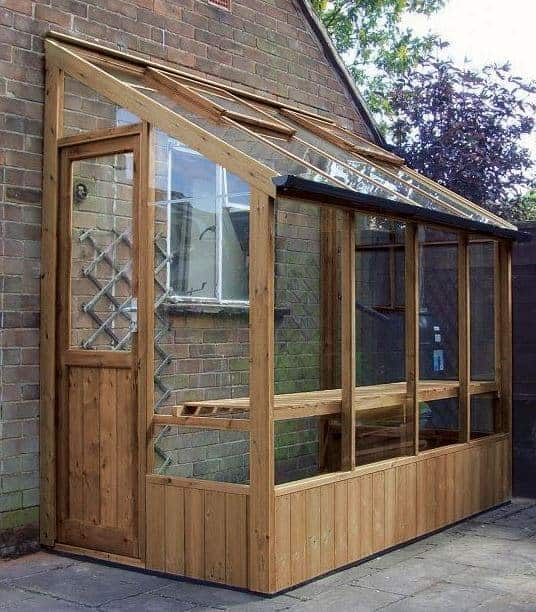 Adley 4' x 8' Lean-To Wooden Greenhouse