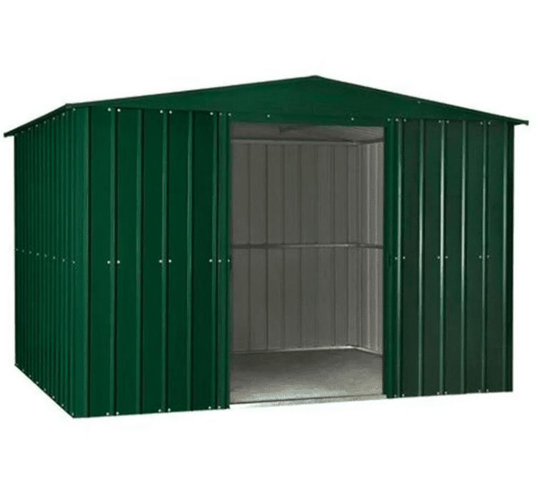 10' x 12' Lotus Heritage Green Apex Metal Shed (3.07m x 3.71m)