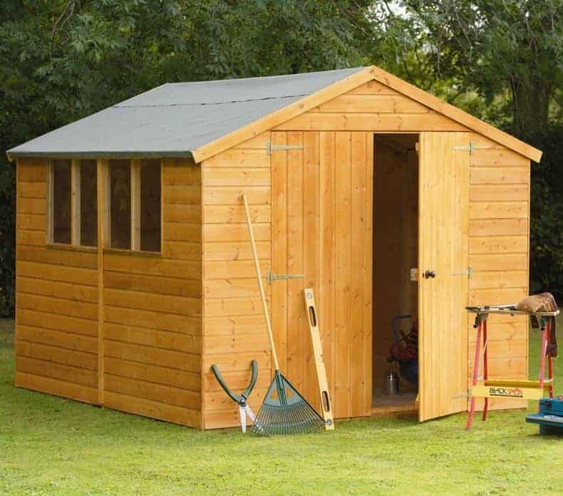 10' x 8' Forest Shiplap Apex Dip Treated Wooden Double Door Shed (3.10m x 2.45m)