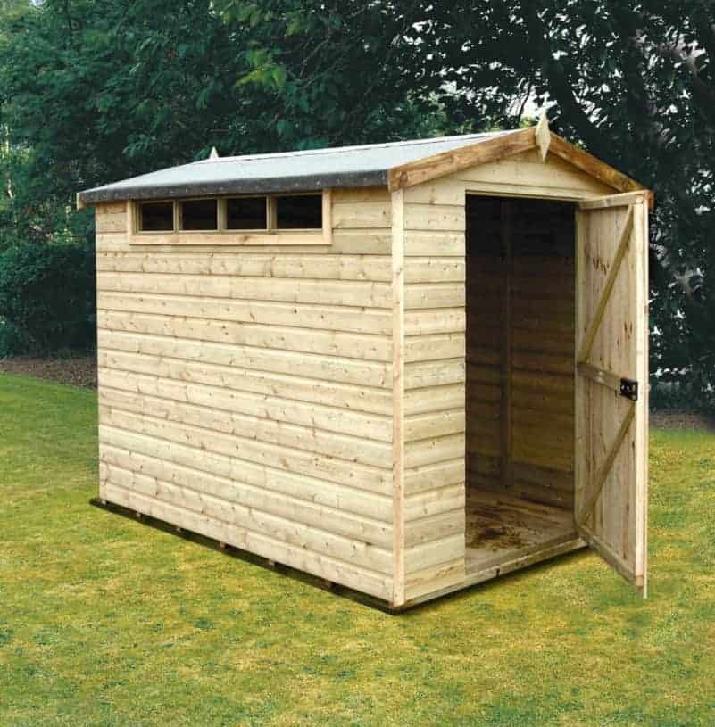 8' x 6' Traditional Apex Security Wooden Garden Shed (2.44m x 1.83m)