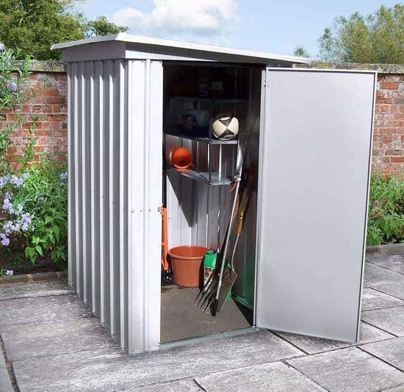 Yardsaver 4 39 x7 39 woodgrain arrow small outdoor metal for Best deals on garden sheds