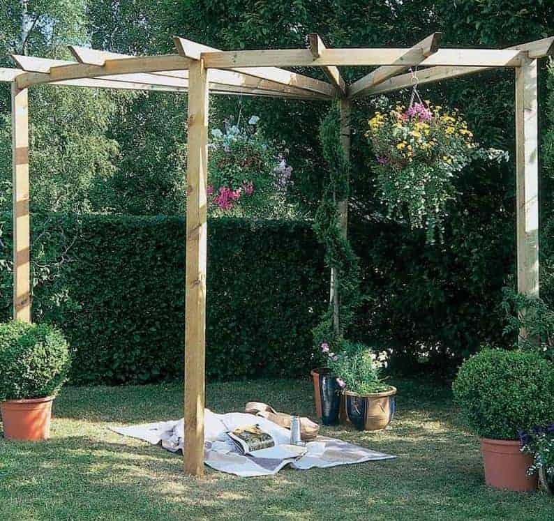 Forest Corner Wooden Radial Garden Pergola Kit 9'x9'