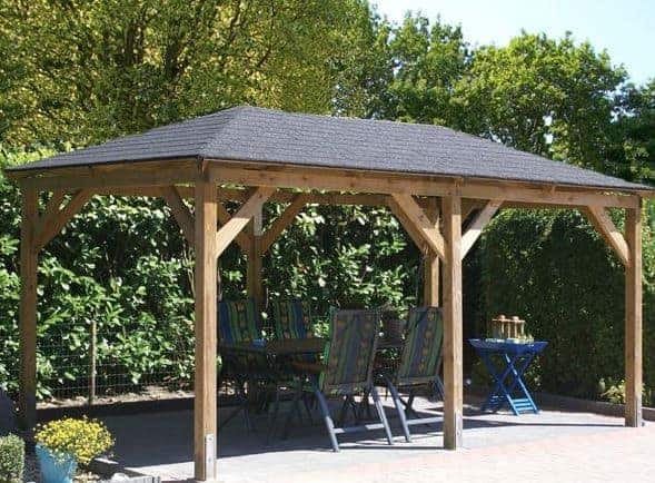 Grande Gazebo with Dark Felt Shingle Roof by Tuin