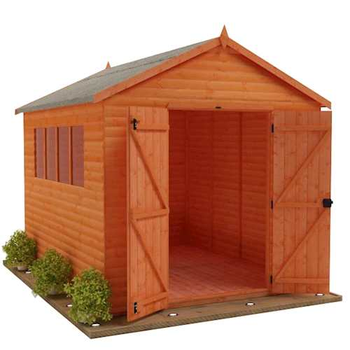 TigerSheds Heavyweight Workshop Shed with Log Board Cladding