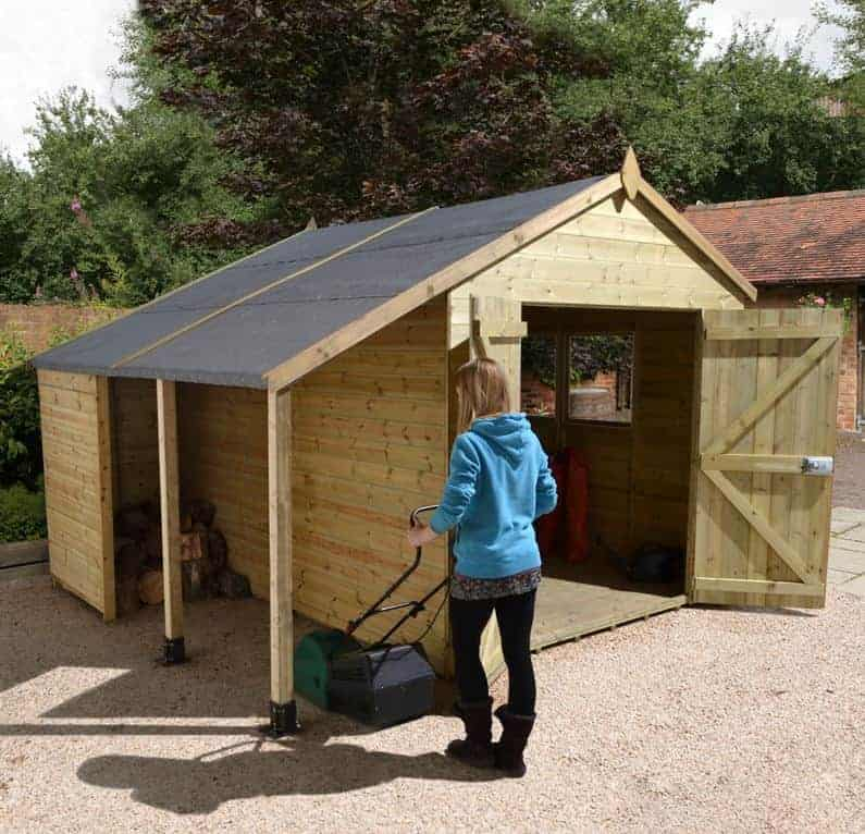 12' x 8' Shed-Plus Champion Heavy Duty Workshop with Logstore - Double Doors (3.63m x 2.43m)