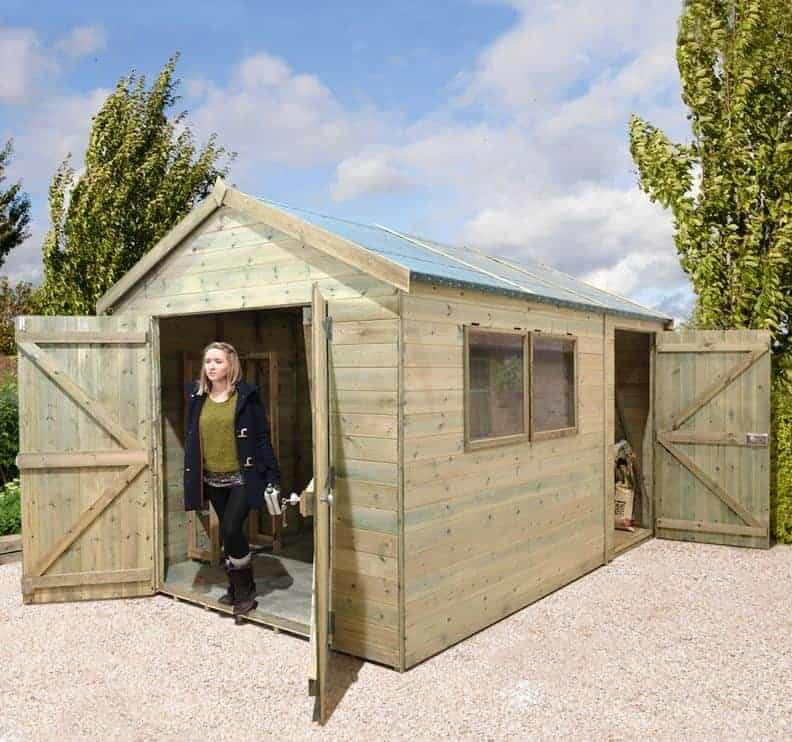 Shed Plus Wooden Garden Sheds Champion Heavy Duty Combination Double Door  Shed