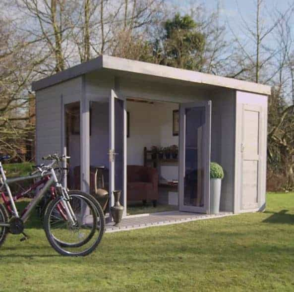 12' X 8' Waltons Contemporary Wooden Summer House With Side Shed