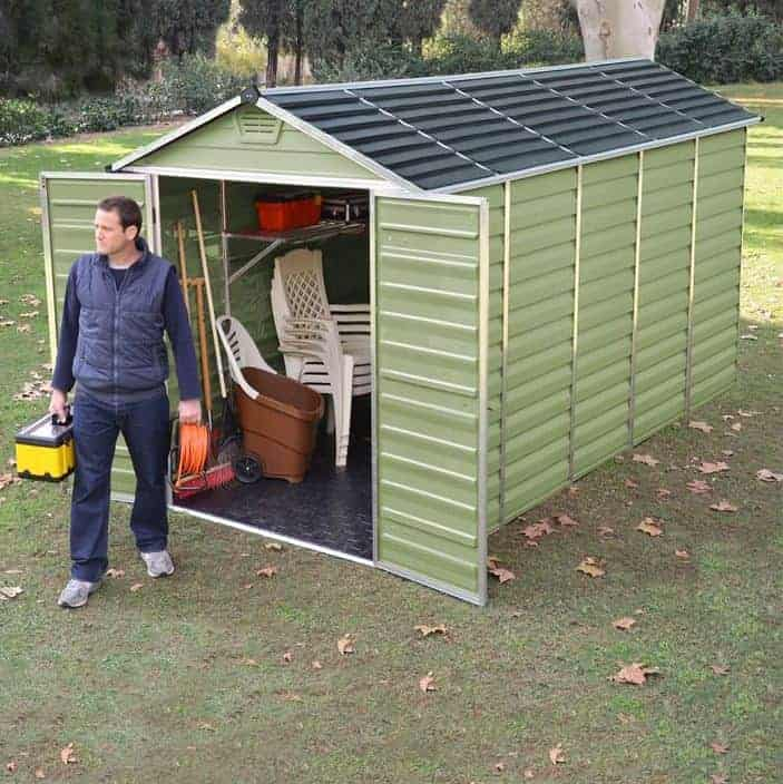 Absco 10 x 12 Pale Eucalyptus Easy Build Apex Metal Shed