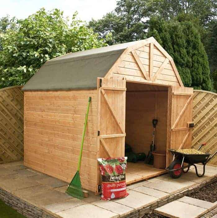 Waltons 10 x 8 Pressure Treated Dutch Barn Shiplap Double Door Apex Garden Shed