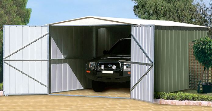 Adley 10' x 20' Double Door Grey Titanium Apex Metal Garage