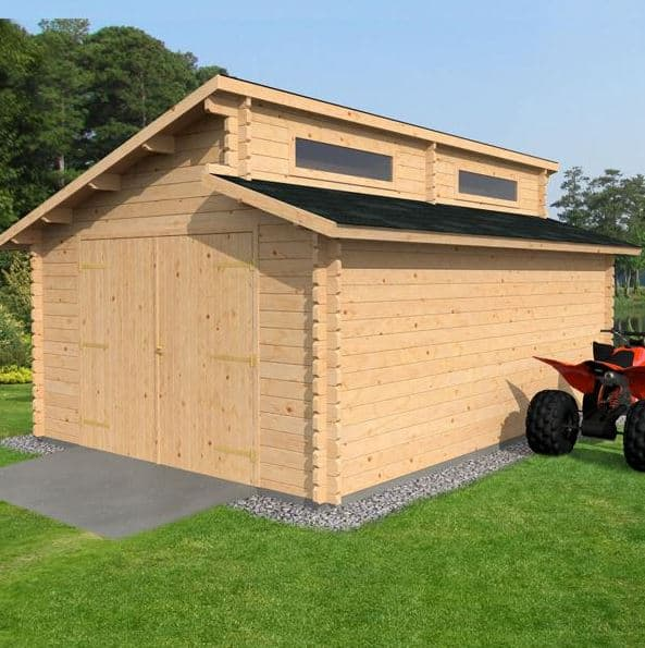WALTONS EST. 1878 Garden Log Cabin Garage Home Office - Traditional Timber Chalet Measures 3.8m x 5.4m complete with Floor & Roof Felt - Includes 10 year Guarantee Double glaze safety glass (3.8x5.4 / 3.8 x 5.4) Fast Delivery
