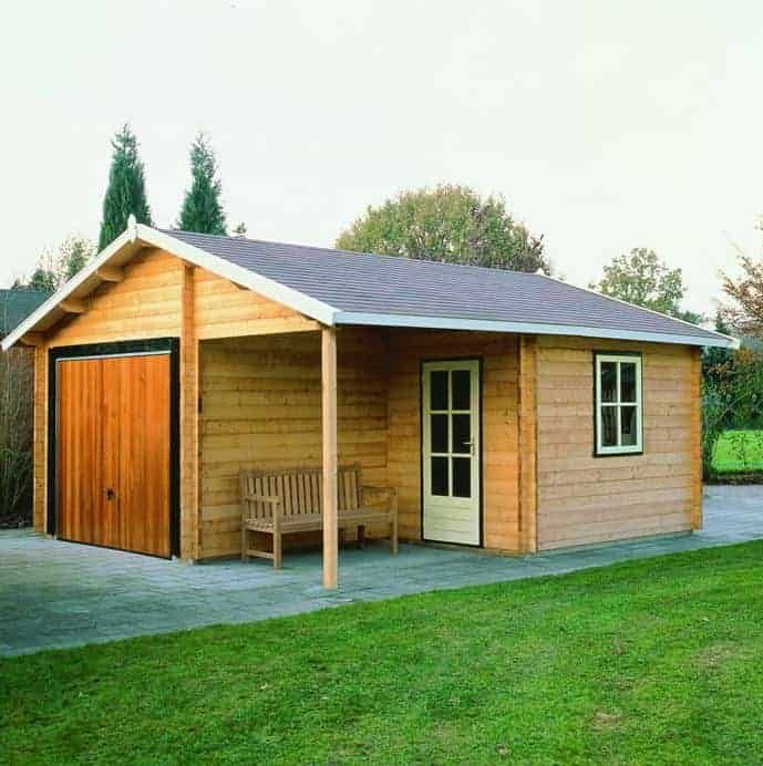 Palmako Roger 5.1m x 5.5m Log Cabin Garage (44mm) - Double Doors