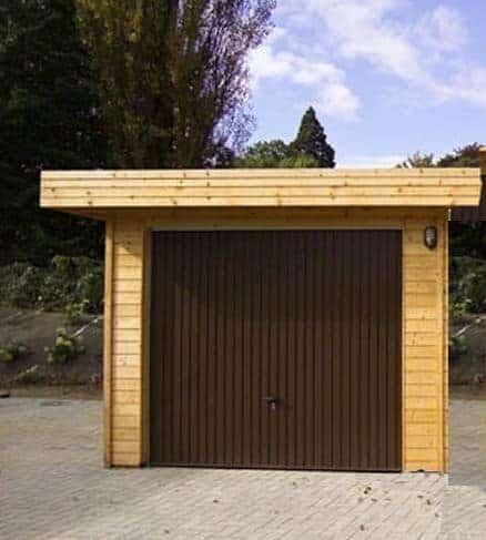 Alpholz Wooden Garage with Flat Roof Model C-70 ISO 70 mm Wall Thickness
