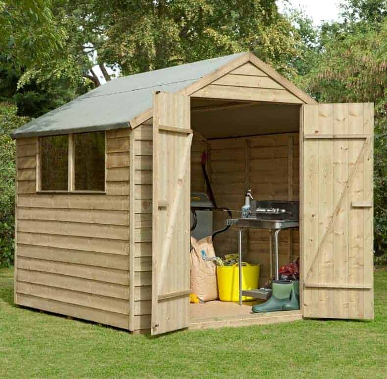 7' x 7' Forest Overlap Apex Pressure Treated Wooden Double Door Shed (2.2m x 2.1m)