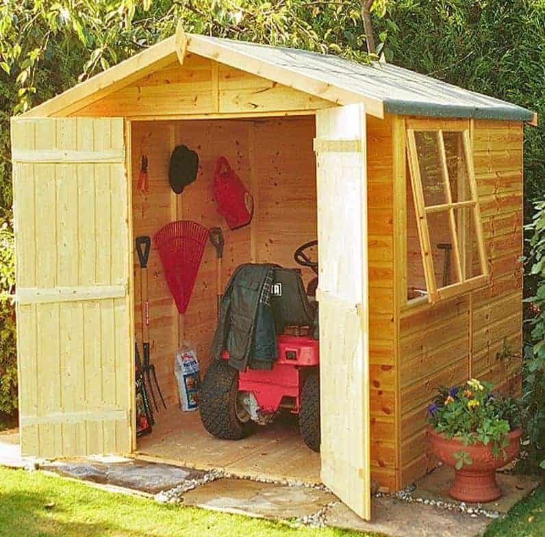 6'9 x 6'6 Shire Alderney Double Door Wooden Garden Shed (2.05m x 1.98m)
