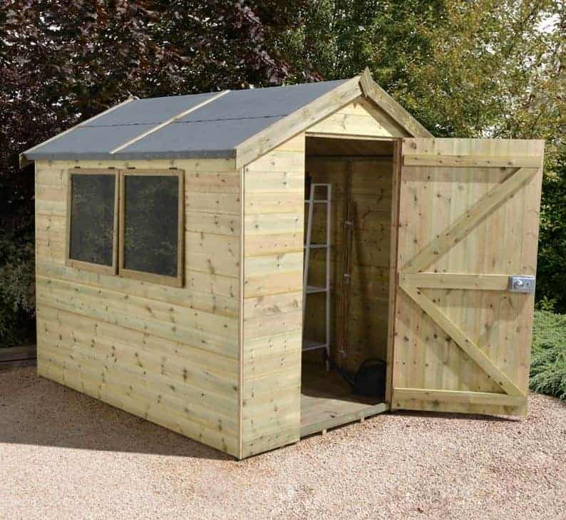 8 x 6 shed plus champion heavy duty apex garden sheds
