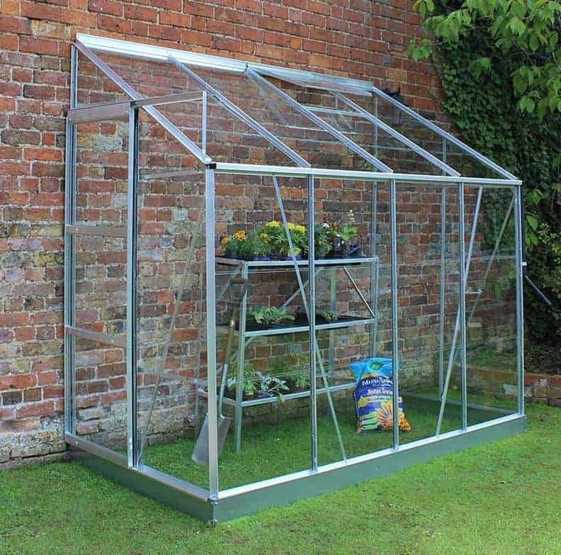 8'x4' Palram Hybrid Silver Lean To Wall Walk In Greenhouse (2.4x1.22m)