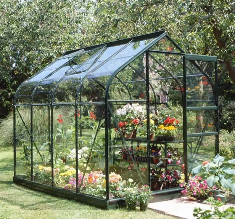 6'x8' Halls Green Frame Large Paned Toughened Glass Greenhouse (1.92x2.56m)