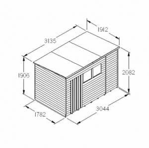 Hartwood 10' x 6' FSC Overlap Pent Shed Dimensions