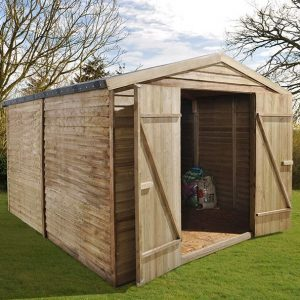 Hartwood 10' x 8' FSC Pressure Treated Overlap Apex Security Workshop Side