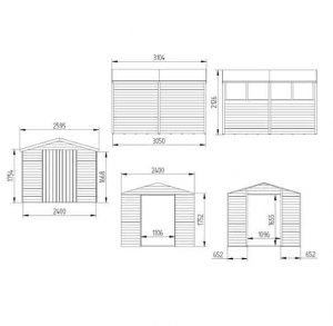 Hartwood 10' x 8' FSC Pressure Treated Overlap Apex Workshop Dimensions