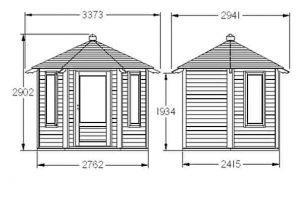 Hartwood 11' x 10' FSC Newbold Summerhouse Dimensions