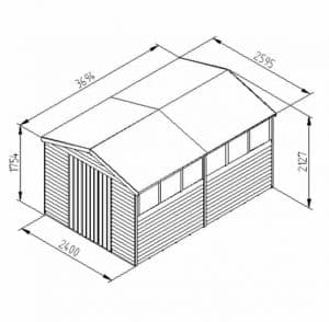 Hartwood 12' x 8' FSC Overlap Apex Workshop Dimensions
