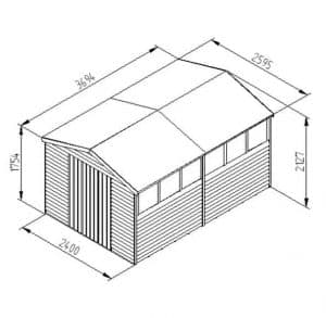 Hartwood 12' x 8' FSC Pressure Treated Overlap Apex Workshop Dimensions