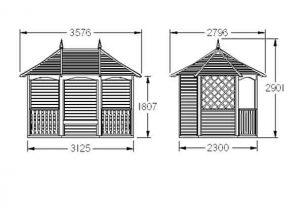 Hartwood 12' x 9' FSC Winchcombe Pavillion Dimensions
