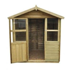 Hartwood 6' x 6' FSC Pressure Treated Sutton Overlap Apex Summerhouse Front View