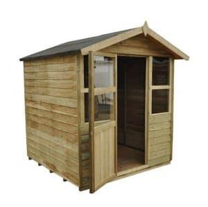 Hartwood 6' x 6' FSC Pressure Treated Sutton Overlap Apex Summerhouse Side View Open Door