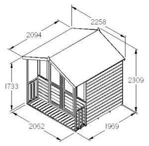 Hartwood 7' x 7' FSC Bidford Summerhouse Dimensions