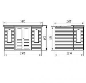 Hartwood 7' x 7' FSC Cranford Corner Summer House Dimensions