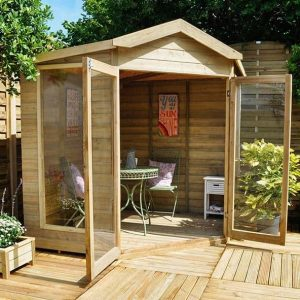 Hartwood 7' x 7' FSC Pressure Treated Oxhill Corner Summer House Right Side View
